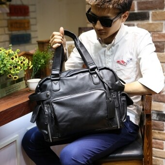 Harga Men Cowhide Leather Handbag Shoulder Satchel Men's Fashion Tote Bag Leisure Korean Leather Bag (Black)