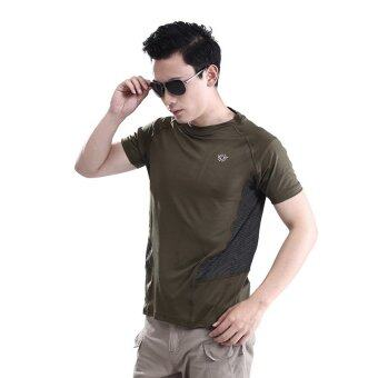 Harga Man Outdoor T-shirt Cotton Army Tactical Combat T-Shirt Military Sport Hiking Camp T-Shirts Fashion Tees Green