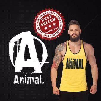 Elit Gym เสื้อกล้าม เข้ารูป เสื้อฟิตเนส ออกกำลังกาย Animal Yellow Tank Top Gym Fitness (สีเหลือง)