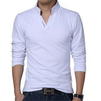 Huaway แฟชั่นชายแขนเสื้อสีทึบสวมเสื้อโปโลลำลองตัวยาว (ขาว)