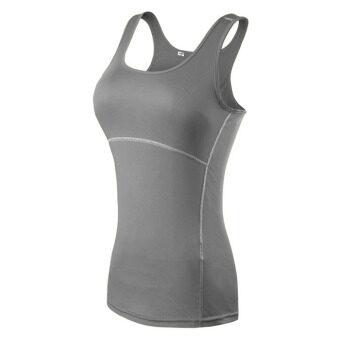 กีฬาออกกำลังกายของสตรีเสื้อซับเสื้อกล้ามแบบโยคะ (สีเทา)