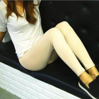 Harga Spring Summer Women Leather Trousers Thin Section Leggings Tight Leather Pants Korean Large Yards (Beige) - intl