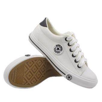 Alisa Shoes รองเท้าผ้าใบแฟชั่น รุ่น AL 9108 White Black
