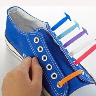 Harga 16Pcs/Set (Color White) Fashion Unisex Women Men Athletic Running No Tie Shoelaces Elastic Silicone Shoe Lace All Sneakers Fit Strap - Intl