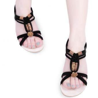 สาวสวยเปิดปลายรองเท้าแตะสานลูกปัดโบฮีเมียส้นเท้าลิ่มบุรุษ (สีดำ)