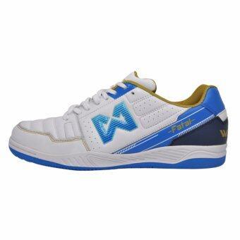 WARRIX SPORT รองเท้าฟุตซอลหนังแท้ WF-1408 ( สีขาว-น้ำเงิน)
