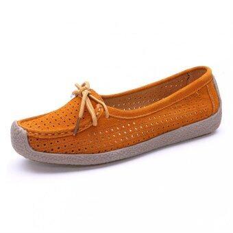 2559 ใหม่หนังงูหนังผู้หญิง Loafers รองเท้ากระต่ายหลบอยู่บนรองเท้าม็อคคาซินแบน (ส้ม)