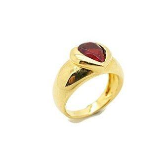 Tfine แหวนพลอยหยดน้ำหัวใจสีแดง ชุบทองแท้สี 24k