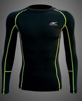 Spandex เสื้อรัดกล้ามเนื้อแขนยาวตัดต่อ รุ่น S003 (สีดำ/ตะเข็บเขียว)