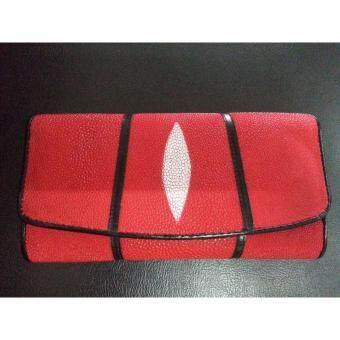 กระเป๋าถือยาว หนังปลากระเบนแท้ 1ตา สีแดง จำนวน 1 ใบ