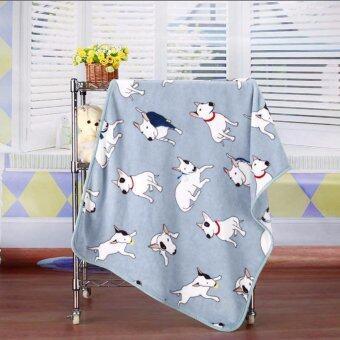 Greenkospace ผ้าห่มผ้าคลุมผืนเล็ก Bull Terrier Blanket Dog Printed Blue 100cmx75cm Soft Fleece Blanket