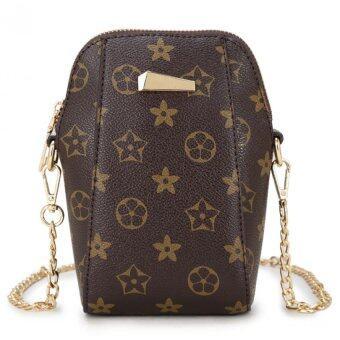 Open กระเป๋าทรงสูง กระเป๋าแฟชั่นสายโซ่ทอง(สีน้ำตาล)รุ่น017