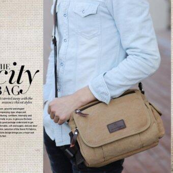 OSAKA กระเป๋าผู้ชายสะพายข้าง ผ้าCANVAS รุ่น UP149 – สีน้ำตาลอ่อน