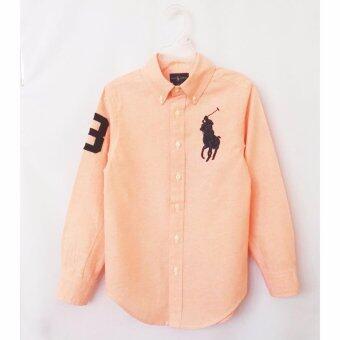 Polo Ralph Lauren เสื้อเชิ๊ตผ้า Oxford สีส้ม ปักม้าใหญ่สีกรมท่าเข้ม แขนยาว