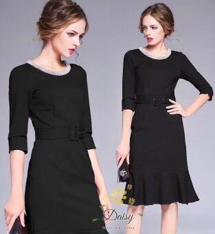Daisy ชุดเดรสผ้ายืดคอตตอนผสมโพลี่ สุภาพ แต่งคอเพชรงานสวยละเอียด มีเข็มขัดให้ High Quality (สีดำ)