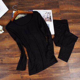 The Traverler : Heattech no ลองจอน กันหนาว ทั้งชุด เสื้อแขนยาว+กางเกงขายาว สีดำ