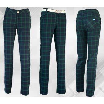 EXCEED กางเกงกอล์ฟสำหรับสุภาพสตรี ลายสก๊อต ( สีเขียว ) KUZ008 PGM Lady Golf Pants GREEN