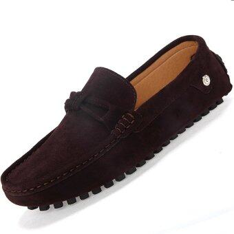 PINSV รองเท้าหนังลำลอง Loafers แฟลตคนออกแบบ (สีน้ำตาล)