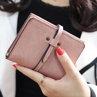 ลาวีมินิน่ารัก ๆ กระเป๋าสตางค์กระเป๋าถือกระเป๋าคลัตช์สั้นที่เก็บบัตรประชาชน (สีชมพู)