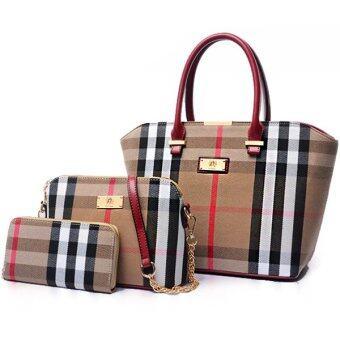 RichCoco (29) กระเป๋าแฟชั่นเกาหลี + กระเป๋าสตางค์ผู้หญิง + กระเป๋าสะพายไหล่ เซ็ต 3 ใบ (สีน้ำตาล)