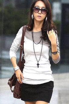 Linemart o คอแขนเสื้อยาวเสื้อยืด (ขาว/สีเทา)-ระหว่างประเทศ