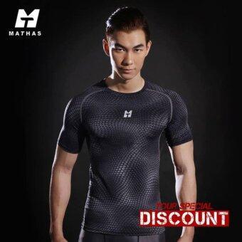 เสื้อออกกำลังกาย รัดกล้ามเนื้อ Mathas UT Series สีดำ - กันแดด UPF30+ ผ้าแห้งเร็ว เย็น ไม่อับกลิ่น