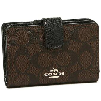 Harga COACH 54023 MEDIUM CORNER ZIP WALLET Dark Brown