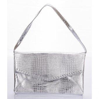 Premium Bag กระเป๋าแฟชั่น กระเป๋าถือ กระเป๋า clutch รุ่น PB-007(สีเงิน)