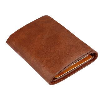 แฟชั่นที่หนีบกระเป๋าสตางค์หนังแท้ผู้ที่เก็บบัตรแม่เหล็กแบบสามทบกระเป๋าสตางค์มินิธุรกิจกาแฟ/สีน้ำตาล