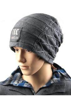 คนสวมหมวกไหมพรมหมวกหญ้าคาในฤดูใบไม้ร่วงฤดูหนาวสวมหัวเทาเข้ม-