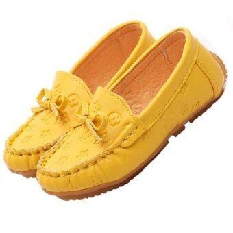 เด็กแฟชั่น loafers เดียวเด็กสาวรองเท้ารองเท้าแบนเหตุ (สีเหลือง)