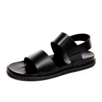 หน้าร้อนแบบคลาสสิกชั้น LBW ผู้ชายรองเท้าแตะหนัง (สีดำ)