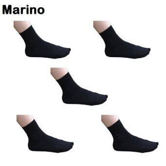 Marino ถุงเท้าข้อสั้นสีดำ ถุงเท้าสำหรับผู้ชายและผู้หญิง (แพ็ค 5 คู่) No.S045 - สีดำ