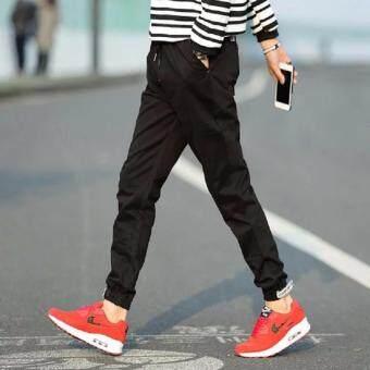 Save กางเกงวอม เอวยางยืด ขาจ้ำยางยืด แต่งซิบ (สีดำ) รุ่น 116