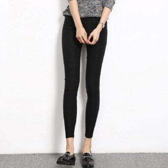 SCS กางเกงขายาว ผ้ายืด (สีดำ) รุ่นB222