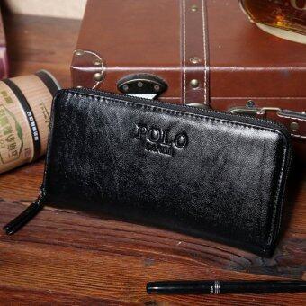MATTEO กระเป๋าใส่เช็ค กระเป๋าเงินใบยาว ซิปรอบ รุ่น POLO FANKE (สีดำ)