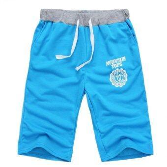 ชายกางเกงขายาวกางเกงขาสั้นกางเกงขาสั้นผ้าฝ้ายสบายห้องออกกำลังกาย (สีน้ำเงิน)