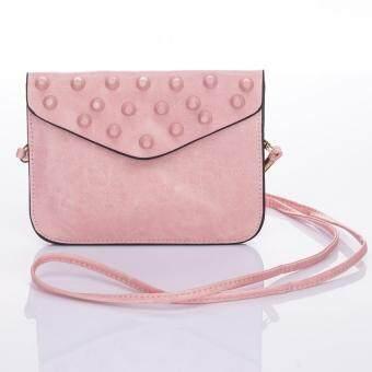 Premium Bag กระเป๋าแฟชั่น กระเป๋าสะพายข้าง รุ่น PB-009 (สีชมพูอ่อน)