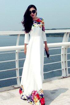 คนครึ่งโลกไซเบอร์พิมพ์ดอกไม้เสื้อเส้นยาวเอวสูงกระโปรงแมกซี่ (ขาว)