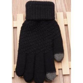 ถุงมือไหมพรม touch screen สีดำ