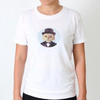POLOMAKER เสื้อยืด TLO01 สีขาว สกรีนลาย คุณชายแมว (ญ)