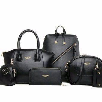 กระเป๋าถือ กระเป๋าสะพาย กระเป๋าเป้ กระเป๋าสตางค์ กระเป๋าใส่เครื่องสำอางค์ ใส่โทรศัพท์ กระเป๋าใส่พวงกุญแจ ผู้หญิง เซต 6 ใบ สีดำ รุ่น YYH5061