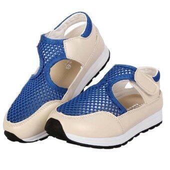 รองเท้าแฟชั่นรองเท้าแตะของเด็กเด็กทารกหายใจ cuasal รองเท้า (สีน้ำเงิน)