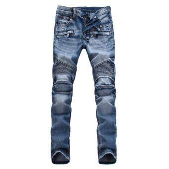 แฟชั่นกางเกงยีนส์ทรงตรงร่างบุรุษฟ้าอ่อน
