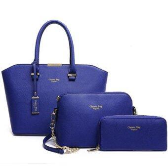 Richcoco (26) กระเป๋าถือผู้หญิง + กระเป๋าสะพายข้าง + กระเป๋าสตางค์ เซ็ต 3 ใบ (สีน้ำเงิน)