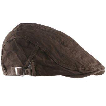เพศหญิงชายคนขับรถ ซึ่งสวมหมวกสวมหัวแบนตลอดไป Gatsby กอล์ฟหมวกสีน้ำตาลอ่อน
