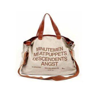YBC ผู้หญิงอเนกประสงค์กระเป๋าถือกระเป๋าสะพายผ้าใบพิมพ์จดหมายกากี