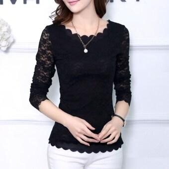 แฟชั่นเกาหลีร้อนเสื้อแขนเสื้อยาวลายผู้หญิงใส่กระโปรงลูกไม้