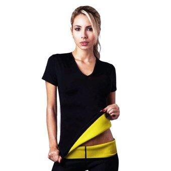 lisa เสื้อ T-shirt เสื้อเรียกเหงื่อ ชุดออกกำลังกาย เสื้อกีฬา ออกกําลังกาย ลดน้ําหนัก ลดความอ้วน lisa 0026-3ดำ