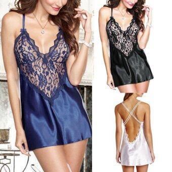 ชุดชั้นในชุดนอนชุดนอนเซ็กซี่ผ้าซาตินลูกไม้สตรีชุดชั้นในชุดนอนให้ใครแต่งตัวแบบจีสตริง